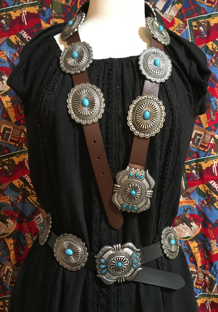 Western Fashion Leather Belts with Oval Conchos and Faux Turquoise