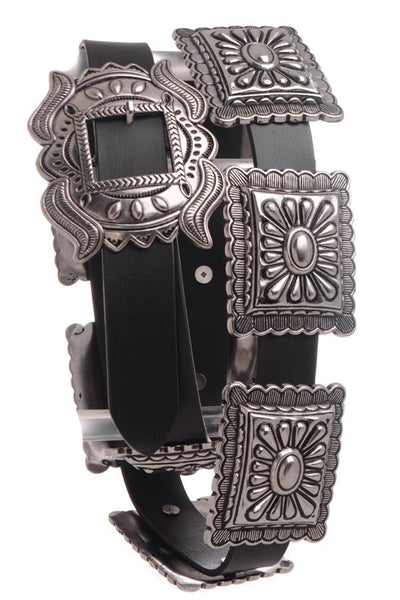 "Western Black Leather Belt 1"" Wide with Antique Silver Tone Conchos"
