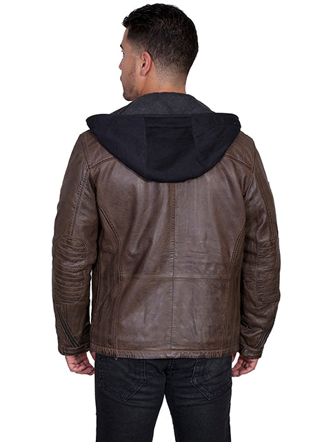 Men's Scully Leather Jacket with Zip Out Hood Brown Antique Lamb Back