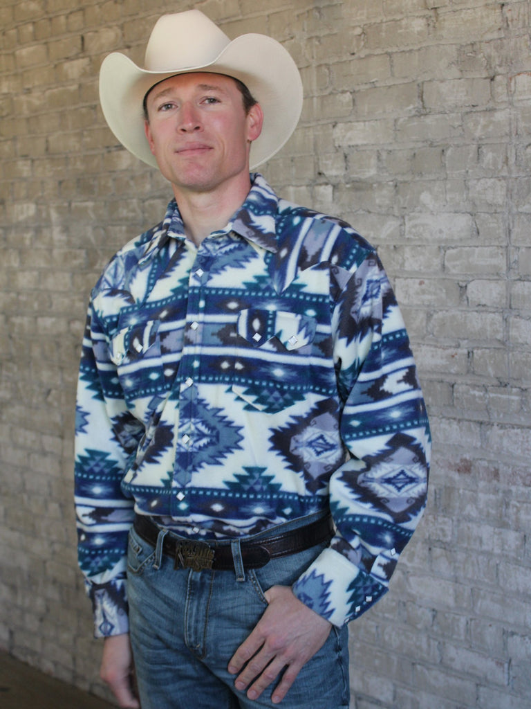 Men's Rockmount Ranch Wear Fleece Native American Design Blue Front Tucked