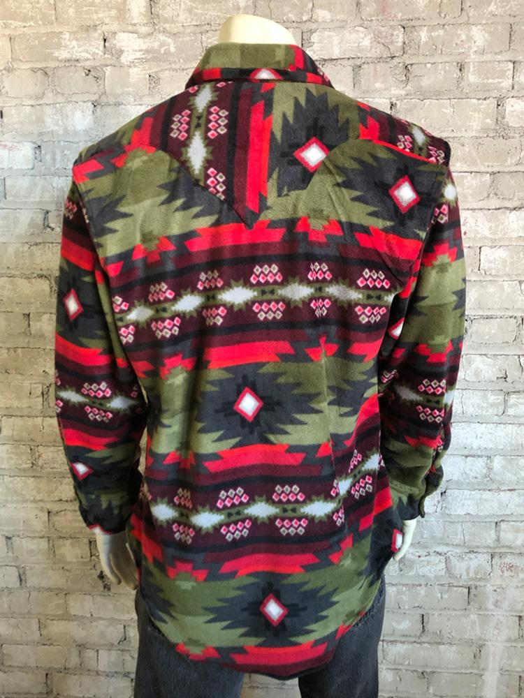 Rockmount Ranch Wear Men's Native American Fleece Green Red Back