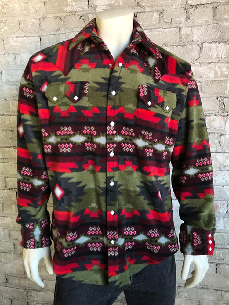 Rockmount Ranch Wear Men's Native American Fleece Green Red Front
