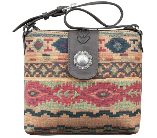 American West Handbag Southwest Textile Shoulder Front