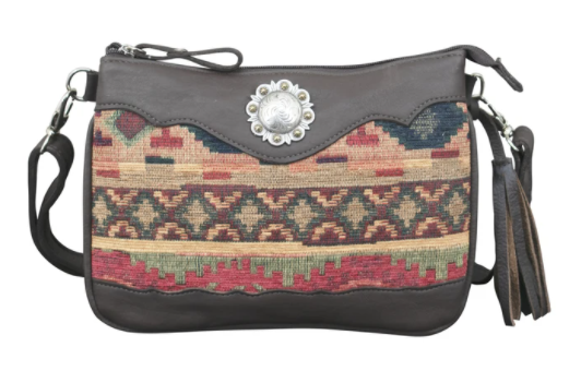 American West Handbag Southwest Tapestry Crossbody Front