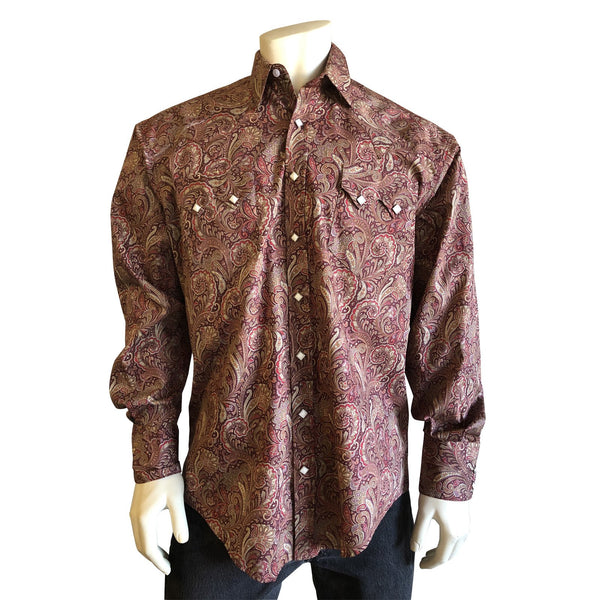 Rockmount Ranch Wear Men's # 631 Western Paisley Print Red Front Untucked