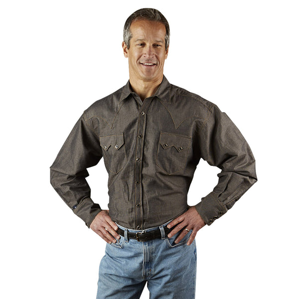 Men's Western Shirt Collection: Rockmount Black Chambray