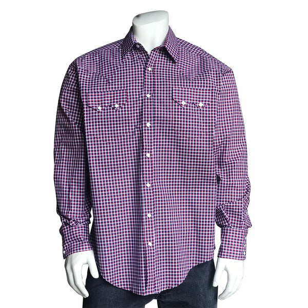 Rockmount Ranch Wear Men's Western Shirt Windowpane Check Red White Blue Front