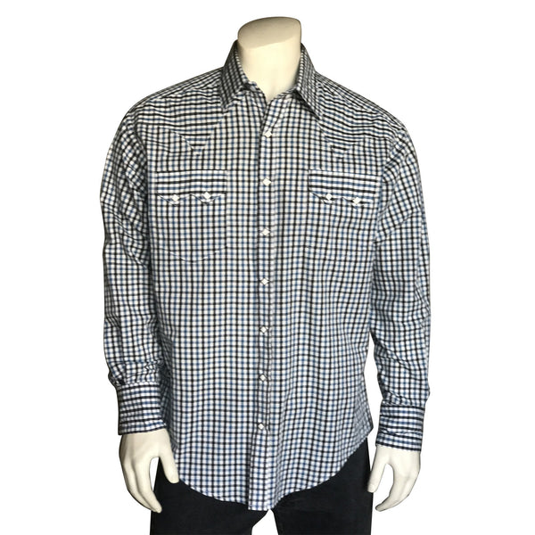 Rockmount Ranch Wear Men's Shirt Windowpane Check Front Untucked