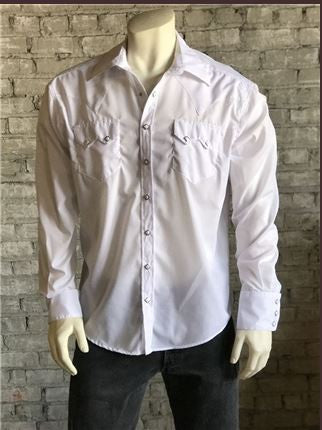 Rockmount Ranch Wear Mens Western Slim Fit Shirt White Front