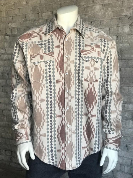 Rockmount Ranch Wear Men's Western Flannel Jacquard Shirt Brown Front
