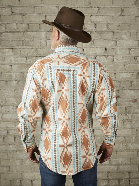 Rockmount Ranch Wear Men's Jacquard Flannel Ivory Front