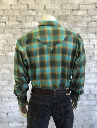 Rockmount Ranch Wear Mens Winter Flannel Plaid Green & Turquoise Model Back