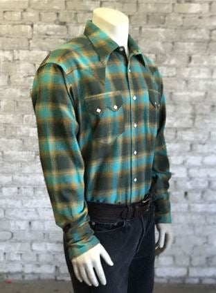 Rockmount Ranch Wear Mens Winter Flannel Plaid Green & Turquoise Model Front