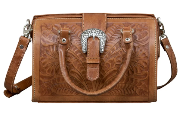 American West Handbag Tooled Doctor Bag Natural Tan Small