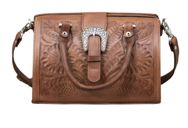 American West Handbag Tooled Doctor Bag Antique Brown Small