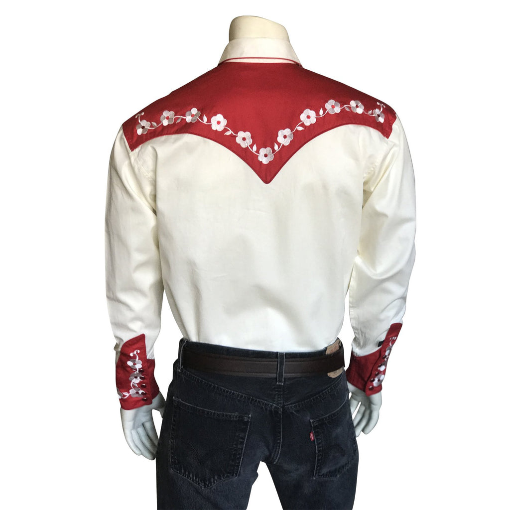 Vintage Inspired Western Shirt Men's Rockmount Ranch Wear Elvis Loving You Back Red