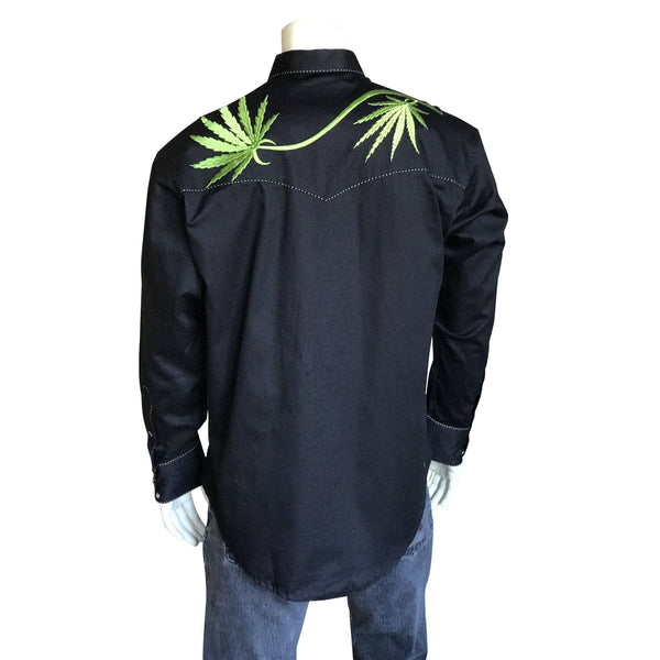 Vintage Inspired Western Shirt: Men's Rockmount Cannabis Cowboy Black Front on Mannequin