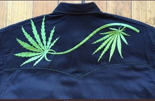Vintage Inspired Western Shirt: Mens Rockmount Cannabis Cowboy Black Back S-5XL