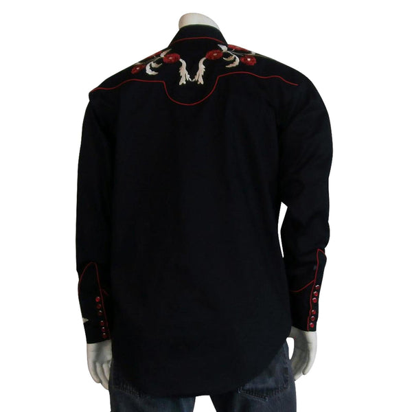 Rockmount Ranch Wear Men's Embroidered Roses on Black #176716 Front