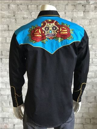 Rockmount Ranch Wear Mens Vintage Western Shirt Fancy Sugar Skull Front Mannequin