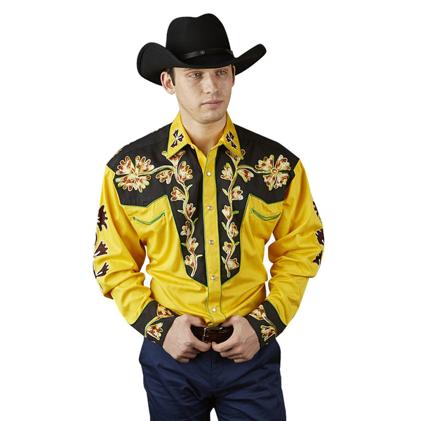 Rockmount Ranch Wear Men's Vintage Western Shirt 2 Tone Gold Front Tucked