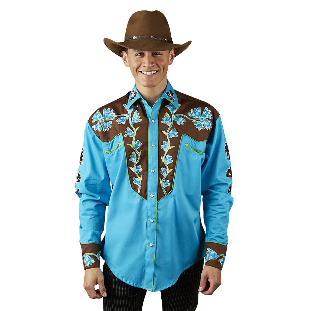 Rockmount Ranch Wear Men's Vintage Western Shirt 2 Tone Blue Front Untucked Front