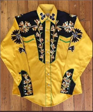 Rockmount Ranch Wear Mens Vintage Western Shirt 2 Tone Gold Front Tucked