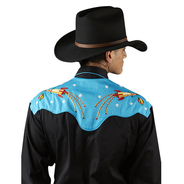 Vintage Inspired Western Shirt Mens Rockmount Ranch Wear Atomic Cowboy Front