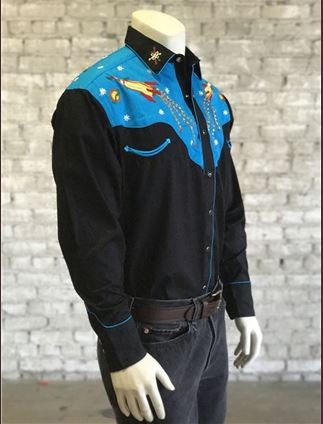 Vintage Inspired Western Shirt Mens Rockmount Ranch Wear Atomic Cowboy Side