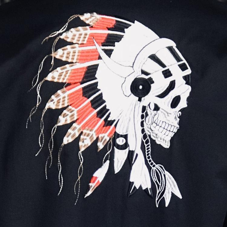 Rockmount Ranch Wear Mens Vintage Embroidery Chief Skull Detail