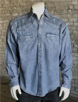 Rockmount Ranch Wear Mens Native Crossroads Denim Model Front