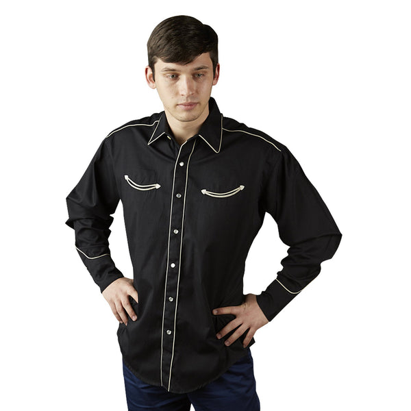 Rockmount Ranch Wear Men's Retro Shirt with Piping Black Front Tucked