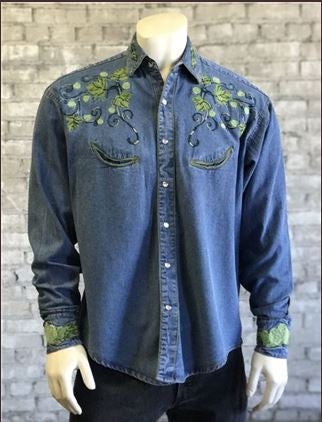 9d2bfc00a6 ... Vintage Inspired Western Mens Shirt Rockmount Ranch Wear Hops Denim  Front ...