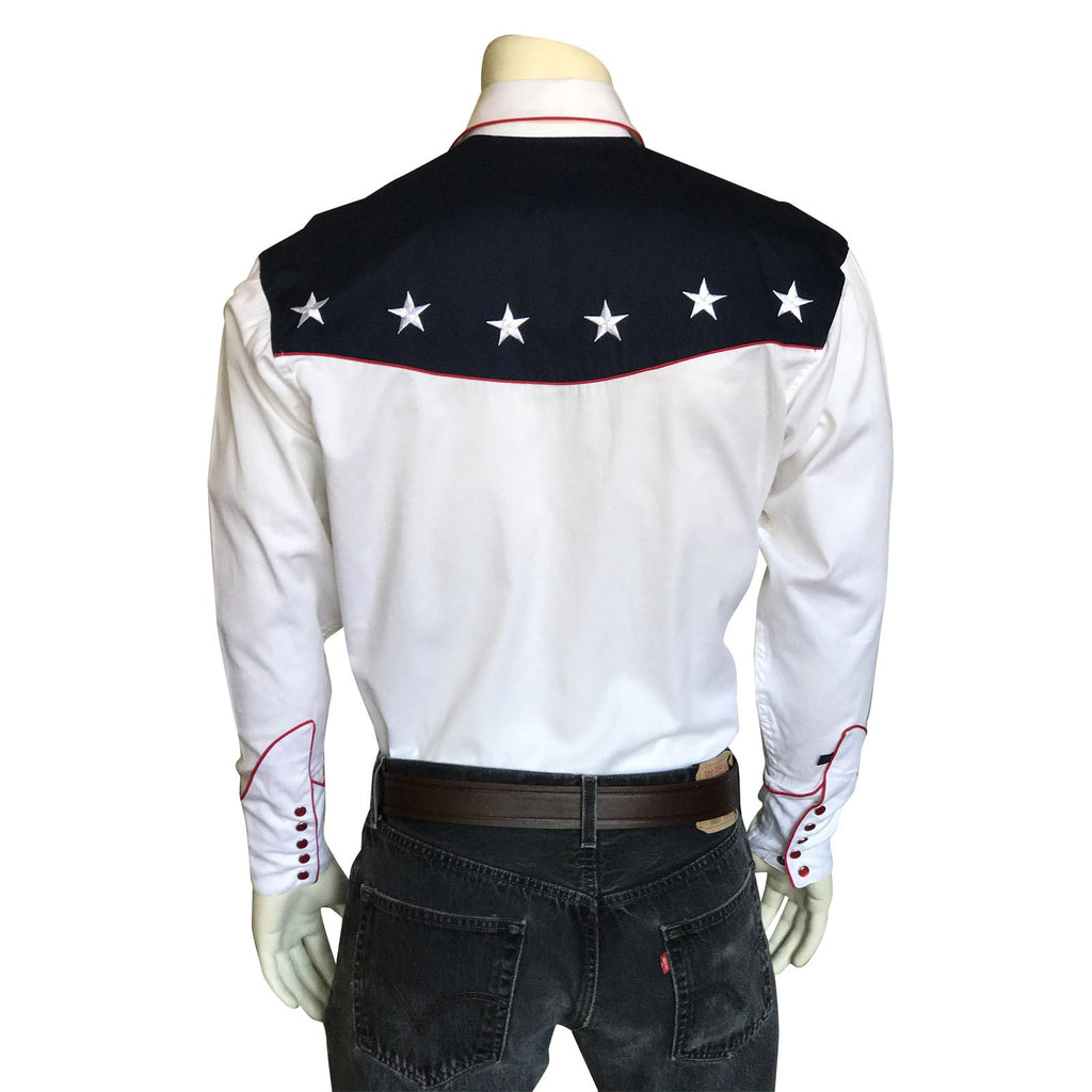 Rockmount Ranch Wear Men's Vintage Western Flag Shirt Back on Mannequin