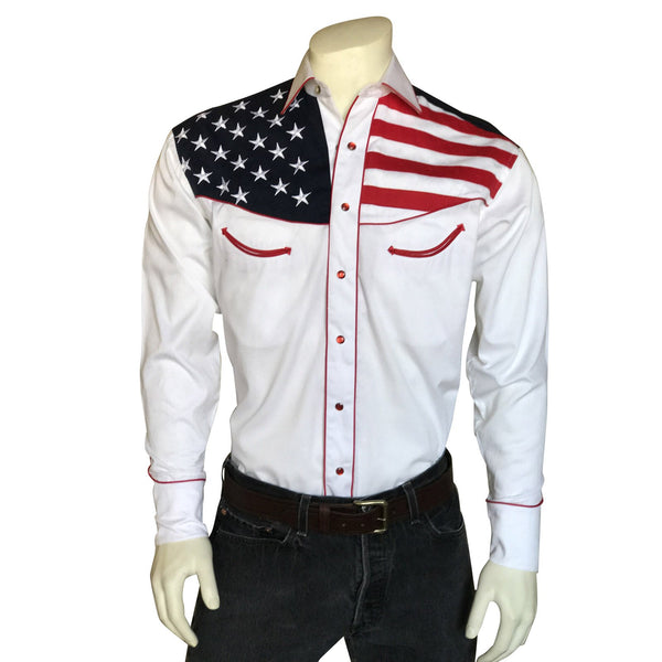 Rockmount Ranch Wear Men's Vintage Western Flag Shirt Front on Mannequin