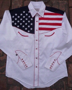 Rockmount Ranch Wear Mens Vintage Western Flag Shirt Front