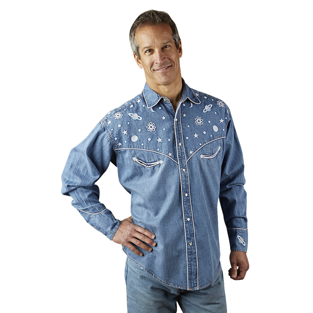 Vintage Inspired Rockmount Ranch Wear Men's Western Planet Shirt Denim Front