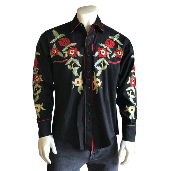 Vintage Inspired Western Shirt Men's Rockmount Ranch Wear Fancy Floral Embroidery Untucked Front
