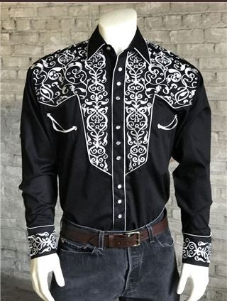 Rockmount Ranch Wear Mens Vintage Western Shirt Scroll Embroidery Black Model Front