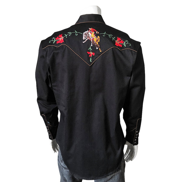 Rockmount Ranch Wear Men's Embroidery Bucking Bronc Black Front #176840B