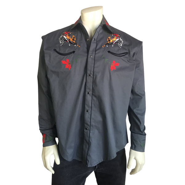 Rockmount Ranch Wear Men's Vintage Inspired Bucking Bronc Embroidered Shirt Front #176840A