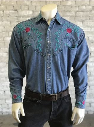 Rockmount Ranch Wear Men's Denim Shirt Teal Embroidery Front