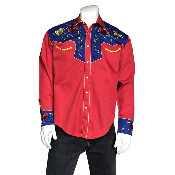 Rockmount Ranch Wear Men's Western Vintage Shirt Floral Embroidery Red Front