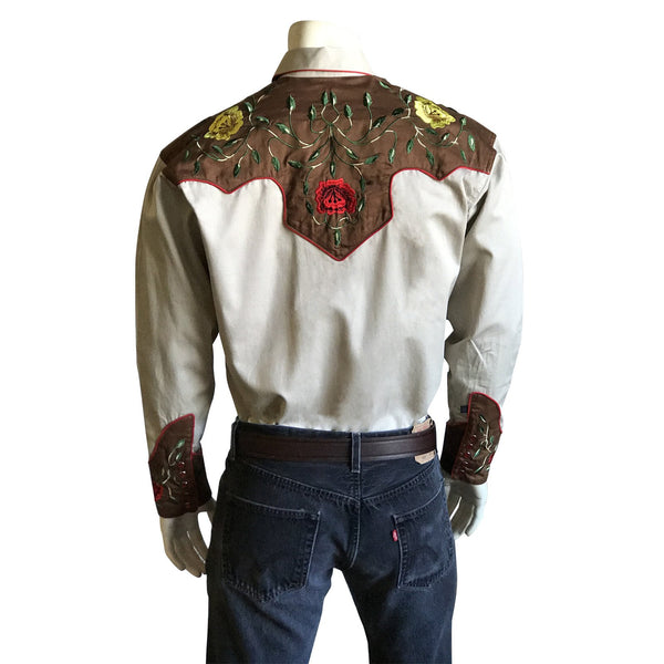 Rockmount Ranch Wear Men's Western Vintage Shirt Floral Embroidery Tan Front on Mannequin
