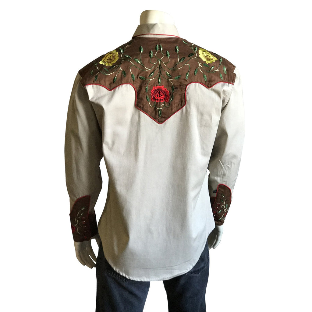 Rockmount Ranch Wear Men's Western Vintage Shirt Floral Embroidery Tan Back on Mannequin