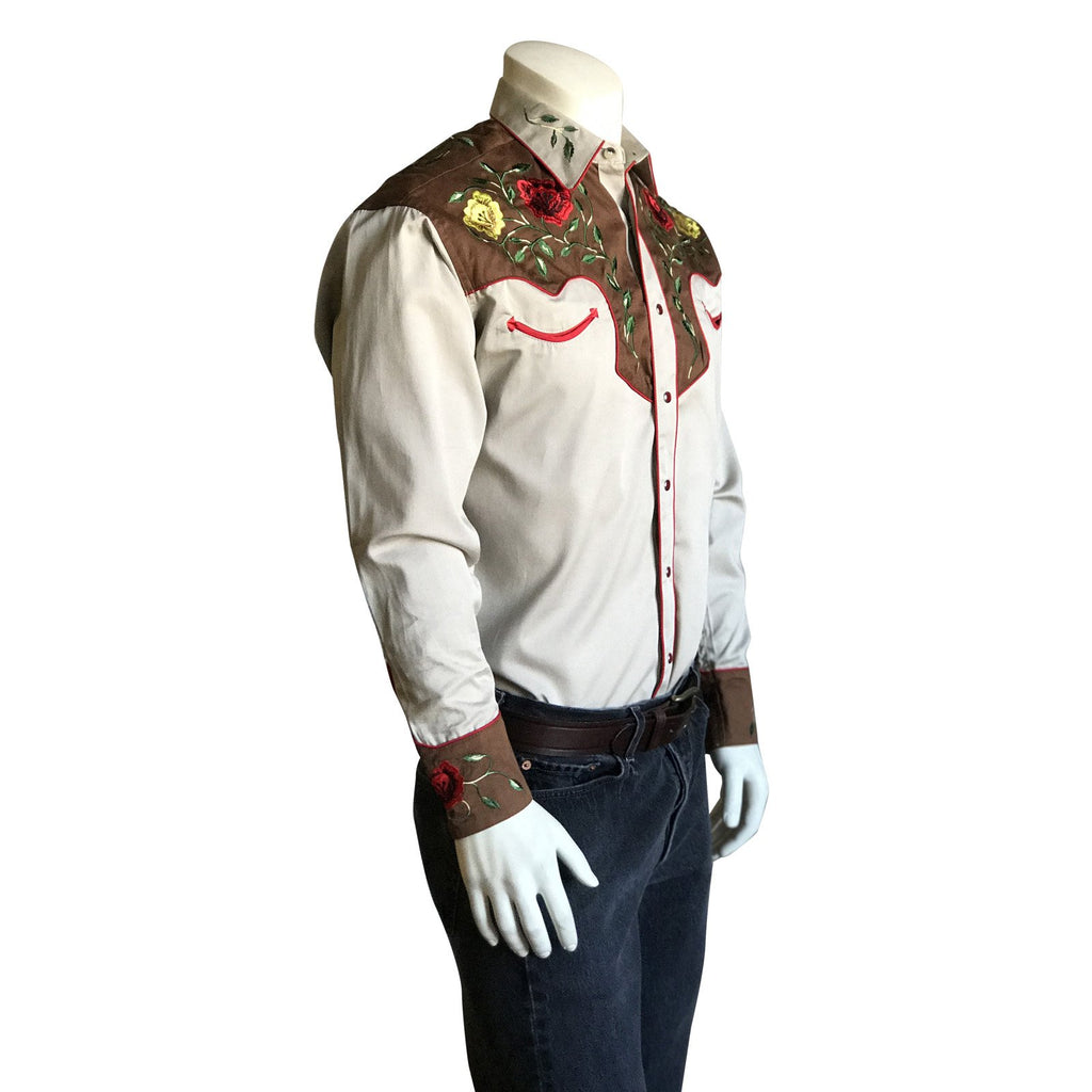 Rockmount Ranch Wear Men's Western Vintage Shirt Floral Embroidery Tan Side on Mannequin