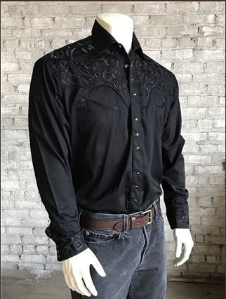 Rockmount Ranch Wear Mens Vintage Western Shirt Floral Embroidery Black Front