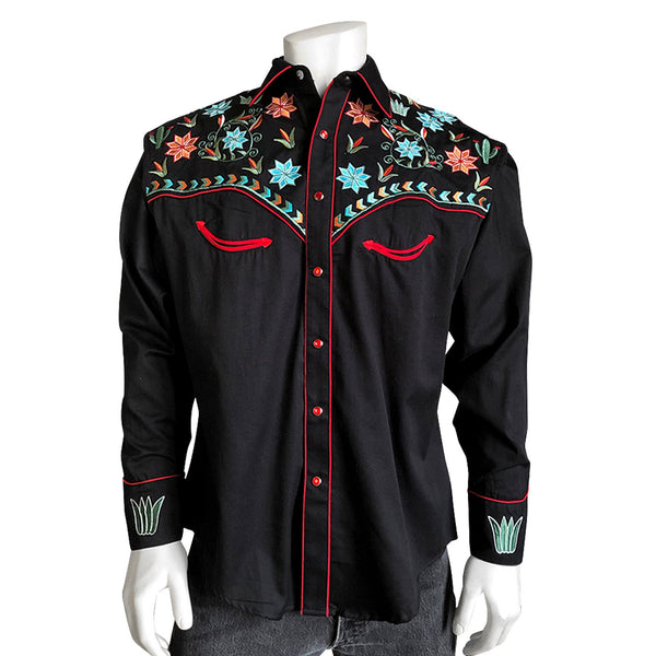 Rockmount Ranch Wear Men's Agave Cactus Floral Embroidery Black Front