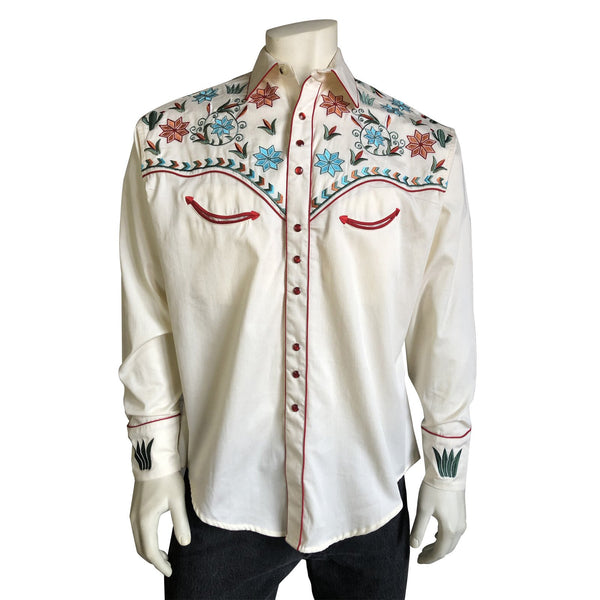 Rockmount Ranch Wear Men's Agave Cactus Floral Embroidery Ivory Front
