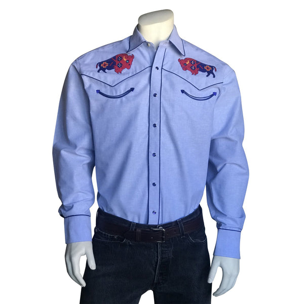 Rockmount Ranch Wear Men's Bison Chambray #176868C